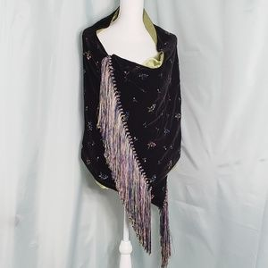 Richard Tyler Couture Floral Embroidered Shawl